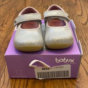 Silver Bobux Mary Janes size 5 baby